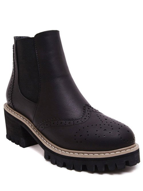 Vintage Engraving Chunky Heel BootsShoes<br><br><br>Size: 39<br>Color: BLACK