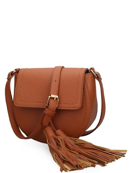 Tassels Covered Closure Crossbody Bag