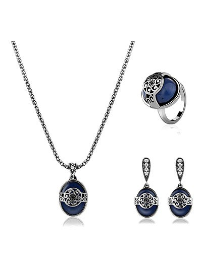 Faux Sapphire Engraved Flower Jewelry Set