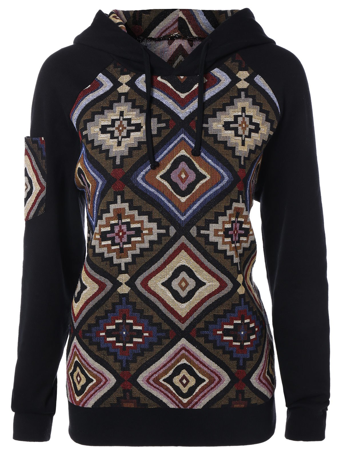 Geometric Pattern Pullover HoodieClothes<br><br><br>Size: M<br>Color: COLORMIX