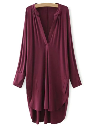 Plunging Neck High Low Dress