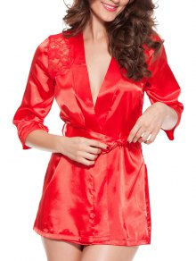 Cut Out Lace Spliced Wrap Sleepwear - Red 3xl