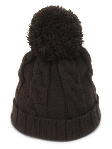Big Ball Hemp Flowers Knitted Hat - Coffee