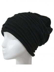 Casual Ruched Knitted Hat - Black