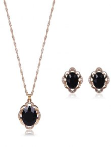 Faux Gem Rhinestone Jewelry Set