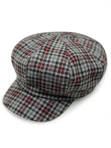 Houndstooth Gingham Newsboy Hat