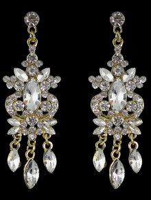 Faux Gem Rhinestone Layered Drop Earrings