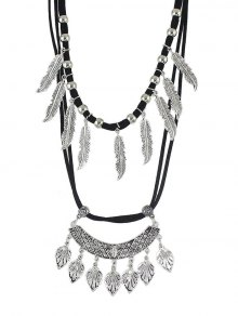 Vintage Alloy Feather Tree Leaf Layered Necklace
