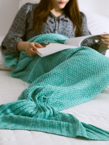 Warmth Knitted Mermaid Tail Blanket - Mint Green L