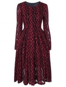 Chevron Stripe Long Sleeve Thermal Dress - Red