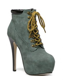 Buy Platform Stiletto Heel Lace-Up Ankle Boots 39 BLACKISH GREEN