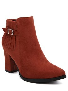 Buy Fringe Pointed Toe Chunky Heel Ankle Boots - RED 38