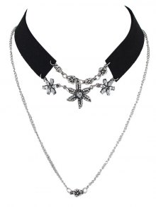 Rhinestone Faux Leather Velvet Flower Choker