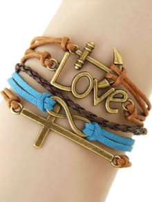 Buy Cross Anchor Braided Bracelet - COLORMIX