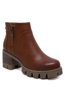 Vintage Double Zips Chunky Heel Boots