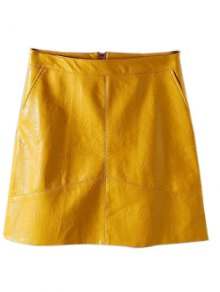 A Line PU Leather Mini Skirt