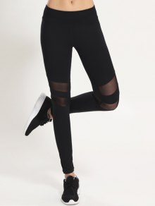 Mesh Panel Leggings - Negro