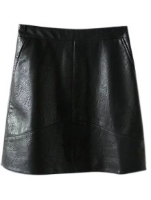 A Line PU Leather Mini Skirt - Black S