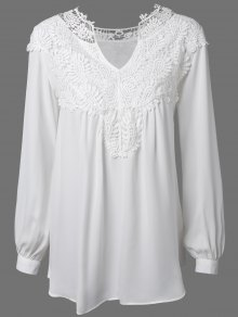 Crochet Floral Long Sleeve Blouse - White M