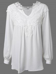 Crochet Floral Long Sleeve Blouse