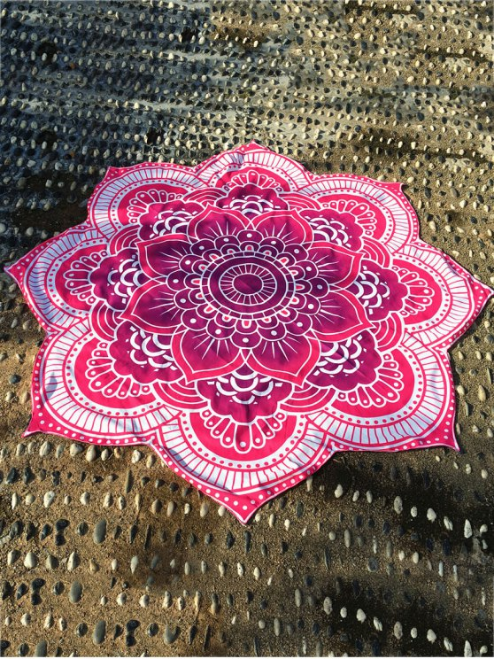 shops Lotus Flower Round Beach Throw - ROSE RED ONE SIZE