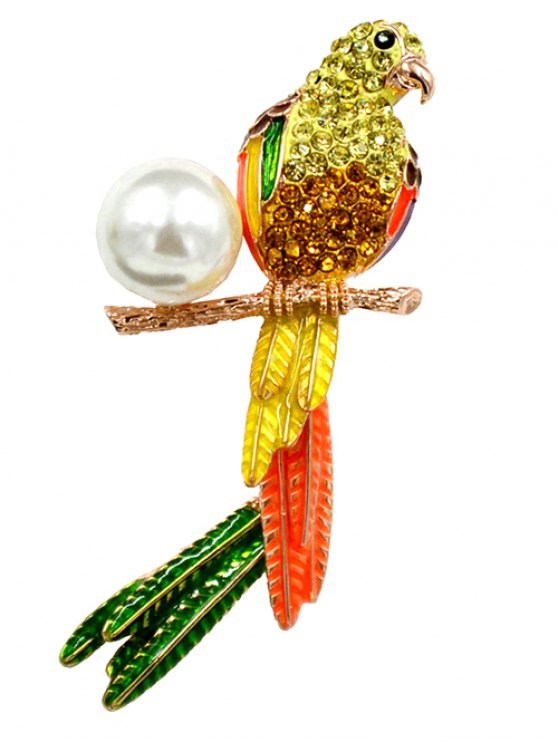 chic Faux Pearl Rhinestone Parrot Brooch - YELLOW
