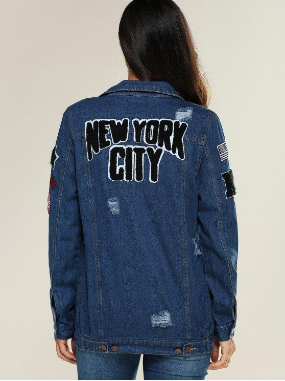 Applique Shirt Collar Ripped Denim Jacket - DENIM BLUE M Mobile