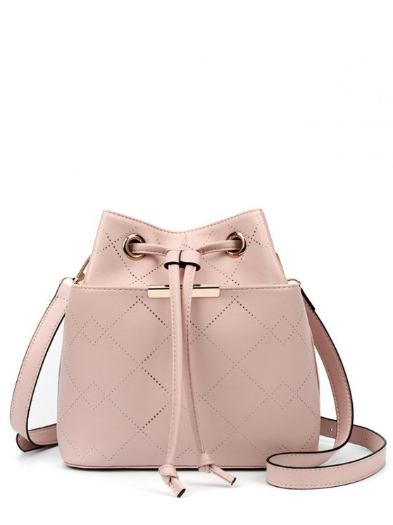 fashion Geometric Pattern Drawstring Metal Crossbody Bag - SHALLOW PINK