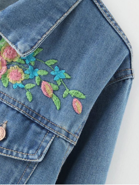 Floral Embroidered Denim Jacket With Pockets - DENIM BLUE L Mobile