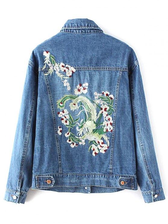 Denim Embroidered Jacket With Pockets - DENIM BLUE L Mobile