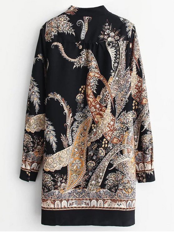 Abstract Print Long Sleeve Shift Dress - COLORMIX L Mobile