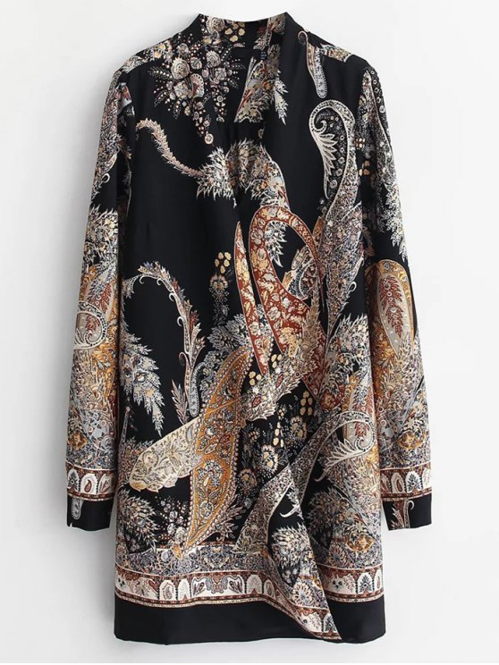 fancy Abstract Print Long Sleeve Shift Dress - COLORMIX S