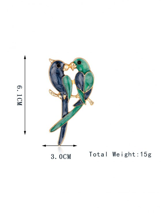 Two Parrots Enamel Brooch - BLUE AND GREEN  Mobile