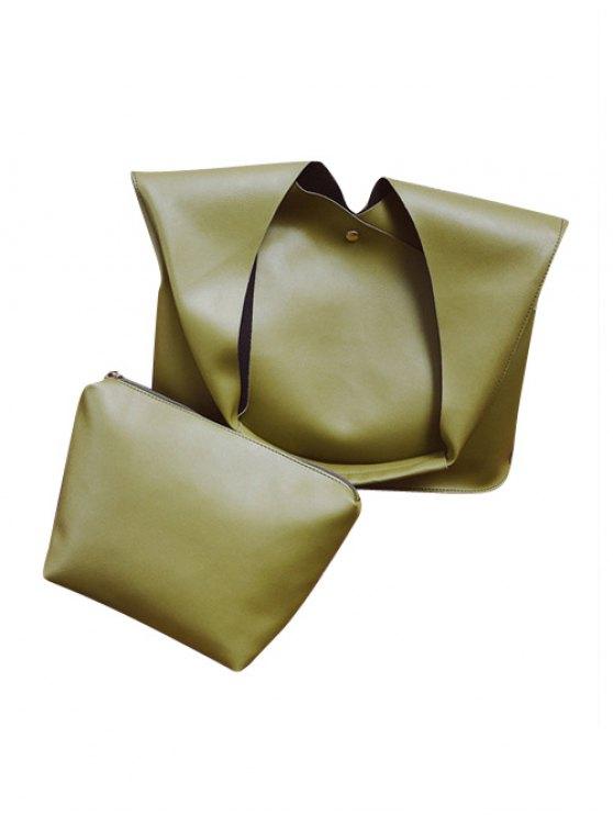Magnetic Irregular Shape PU Leather Shoulder Bag - GREEN  Mobile