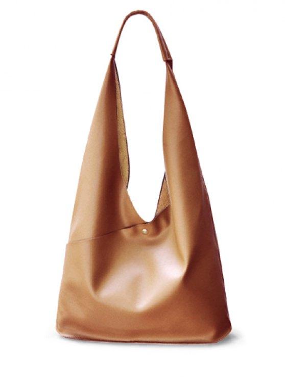 Magnetic Irregular Shape PU Leather Shoulder Bag - BROWN  Mobile