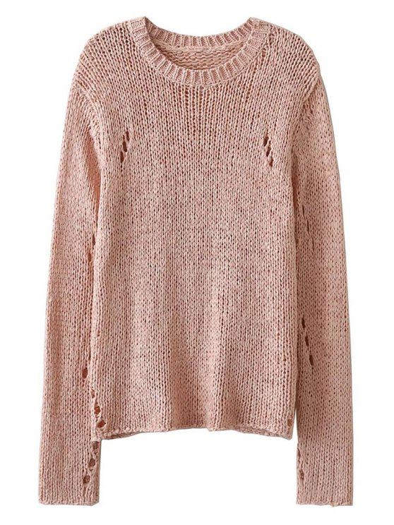 sale Open Knit Crew Neck Jumper - PINK ONE SIZE