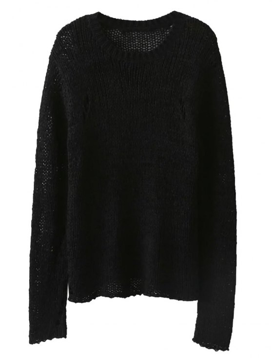 affordable Open Knit Crew Neck Jumper - BLACK ONE SIZE