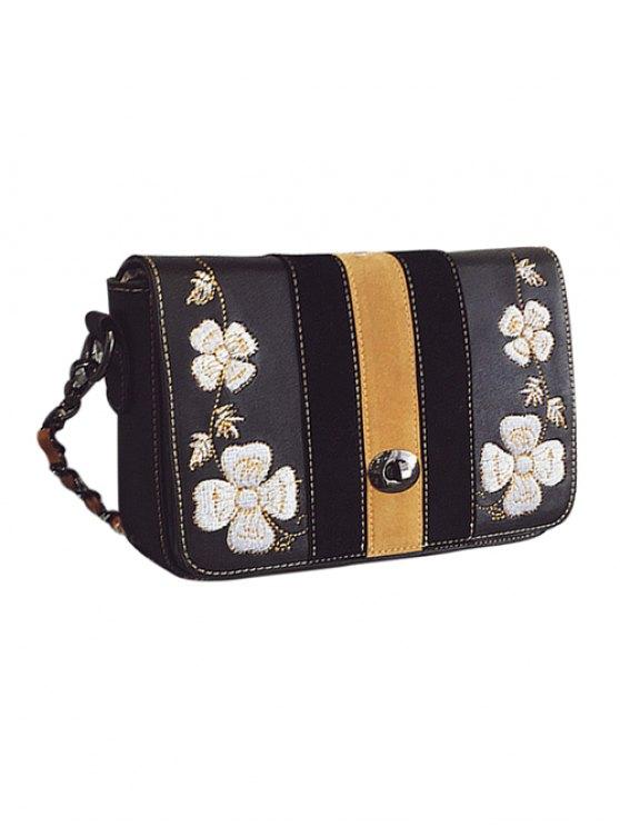 Flower Embroidery Striped Pattern Crossbody Bag - BLACK  Mobile