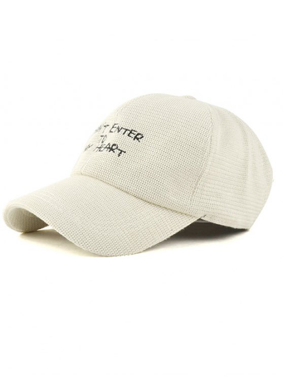 fancy Letter Embroidery Knit Baseball Hat - OFF-WHITE