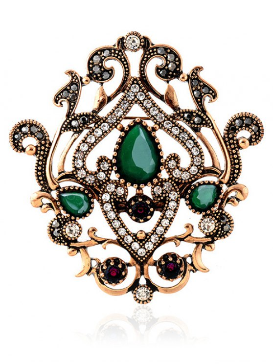 Hollow Out Artificial Gem Brooch - GREEN  Mobile