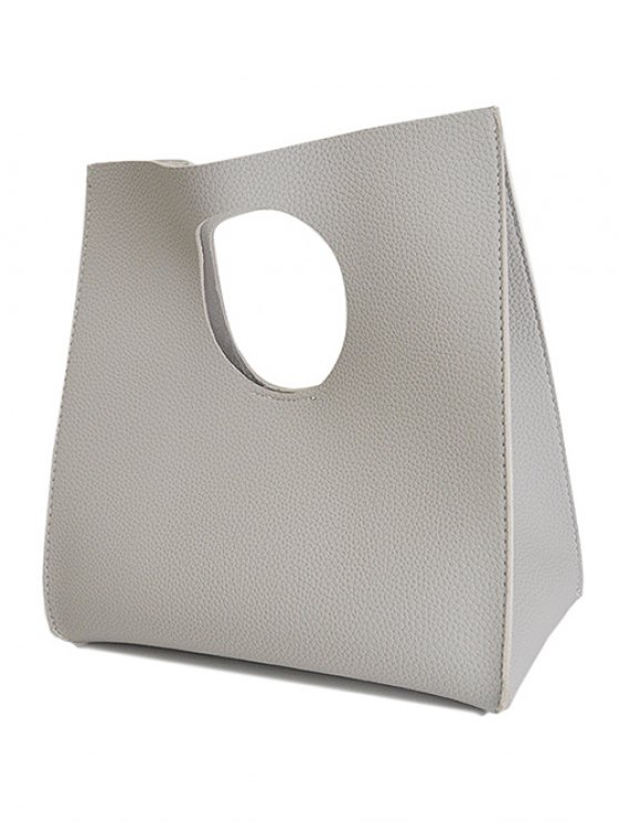 Snap Closure PU Leather Tote Bag - LIGHT GRAY  Mobile