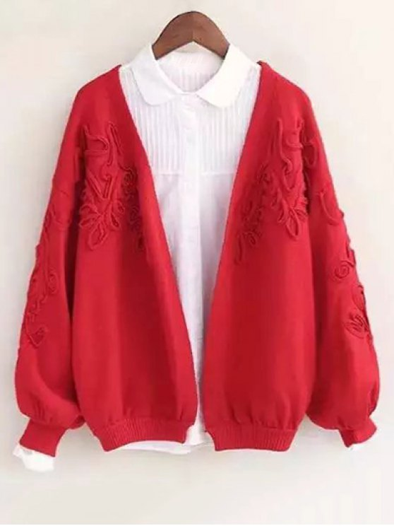 online Floral Applique Cardigan - RED ONE SIZE