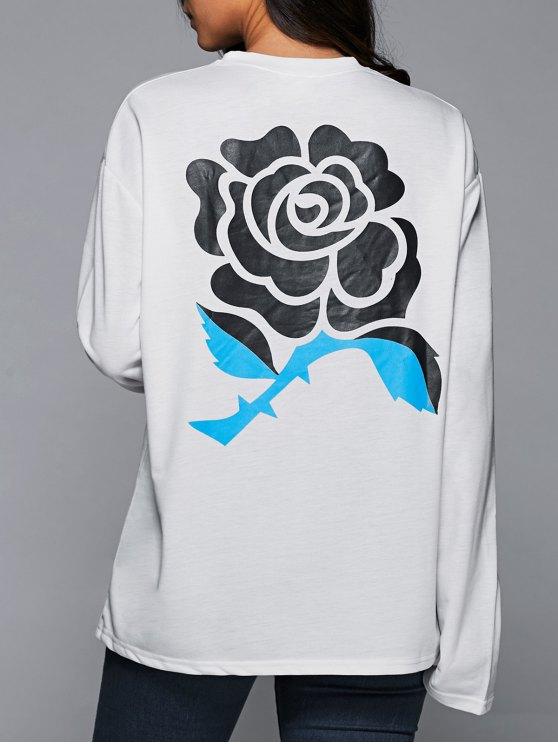 Sweatshirt surdimensionnées imprimé fleur - Blanc L