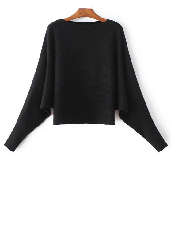 Bat-Wing Sleeve Sweater - BLACK ONE SIZE Mobile