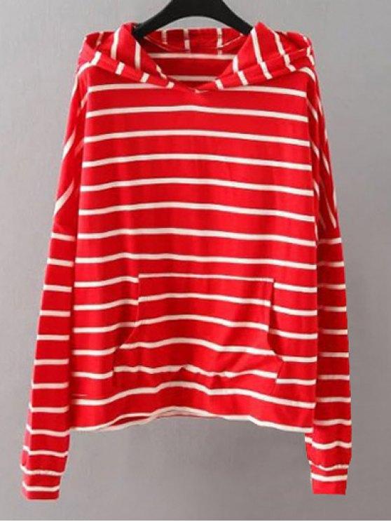 Bolsillos de rayas con capucha - Rojo 3XL
