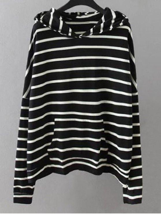 Bolsillos de rayas con capucha - Negro XL