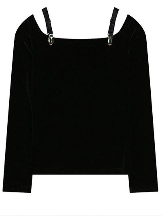 Cold Shoulder Pleuche la camiseta - Negro Única Talla