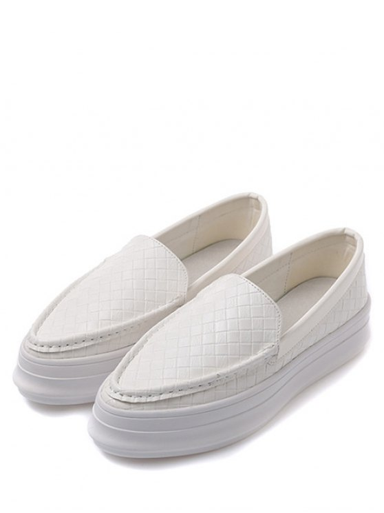 Plaid Pattern PU Leather Embossing Flat Shoes - WHITE 38 Mobile