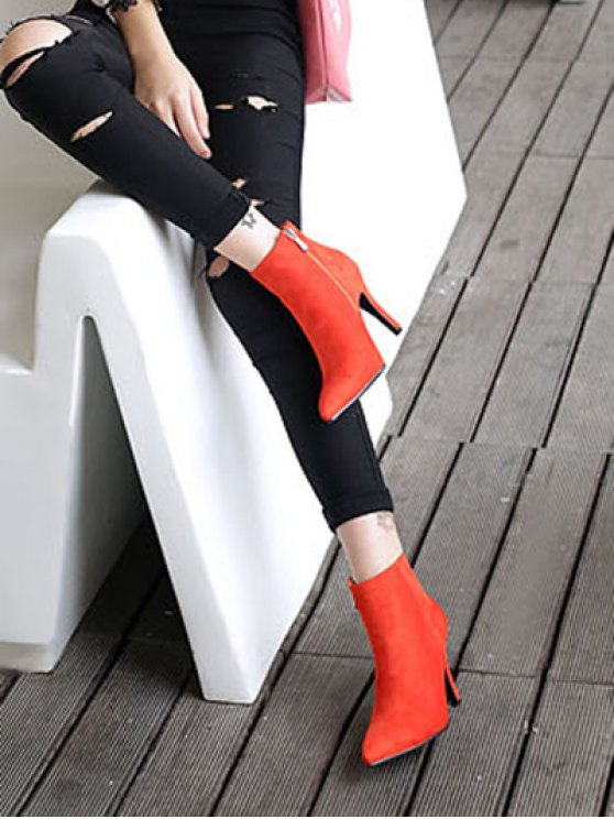 Flock Pointed Toe Stiletto Heel Ankle Boots - JACINTH 40 Mobile