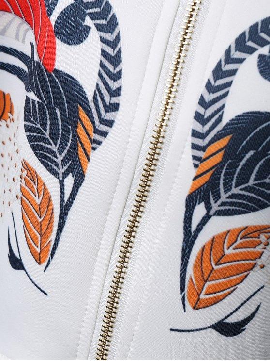 Drop Shoulder Dip Hem Jacket - WHITE L Mobile